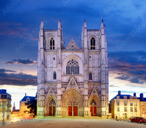 Night view on the saint Pierre cathedral in Nantes city in France Fototapete