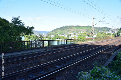 Obraz Eisenbahnbrücke Doppelstockbrücke Alf-Bullay - fototapety do salonu