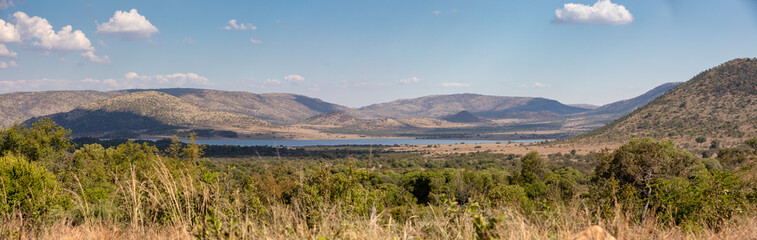 panorama landscape from Pilanesberg National Park, South Africa. Wildlife and nature. African safari