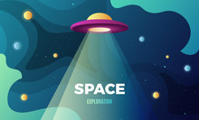 Space Exploration Background Design, Modern Gradient Vector Template With A Flying Saucer Alien Ship