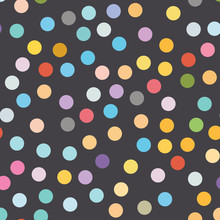 Multi Colored Polka Dot Seamless Pattern On Black Background.