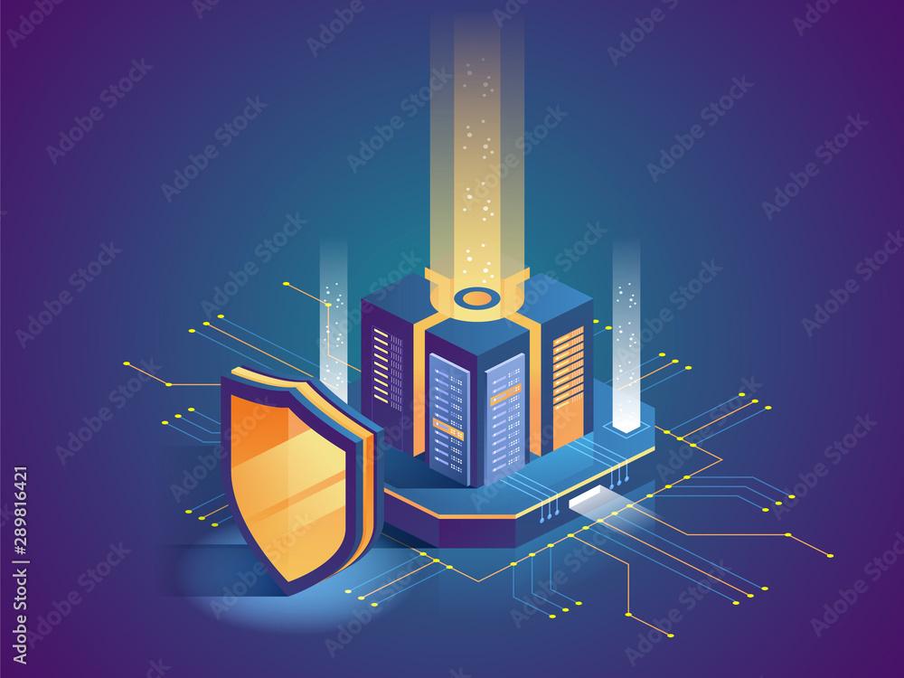 Fototapeta Isometric illustration of digital protection