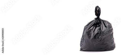 Fototapeta Black plastic bag on a white background. obraz