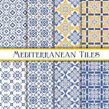 Mediterranean Tiles Blue And Y...