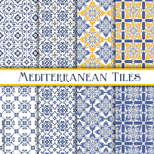 Stampa su Tela Mediterranean tiles blue and yellow sicily theme