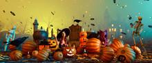 Halloween Magic Night,3d Illus...