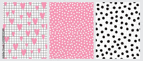 fototapeta na ścianę Cute Hand Drawn Irregular Hearts and Dots Vector Patterns. Pink Hearts and Black Grid Isolated on a White Background. Tiny White Dots on a Pink. Black Brush Dots on a White. Funny Infantile Design.