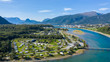 Leinwanddruck Bild - Beautiful Nature Norway natural landscape. Aerial view of the campsite to relax. Family vacation travel, holiday trip in motorhome.