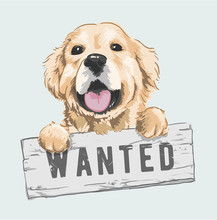 Cartoon Dog Holding Wanted Sig...