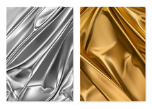 Silver And Gold Texture. Foil, Fabric. 3d Vector Realistic Background