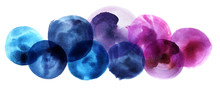 Abstract Watercolor Background From Iridescent Circles Of Irregular Shape. Mauve Pink Blue Purple Circles With Radial Lines On A White Background. Hand-drawn Graphic Elements