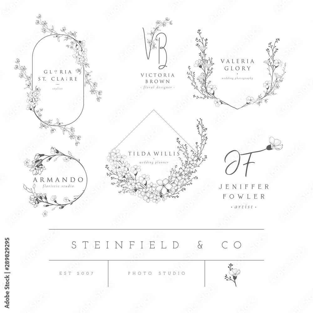 Fototapeta Vector set of line design elements for floral logos, frames and border. Decorated with detailed delicate flowers and brunches