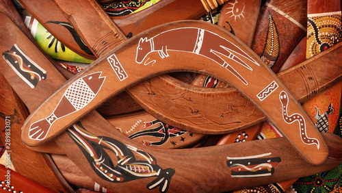 Boomerangs huge pile of traditional aboriginal weapons Wallpaper Mural