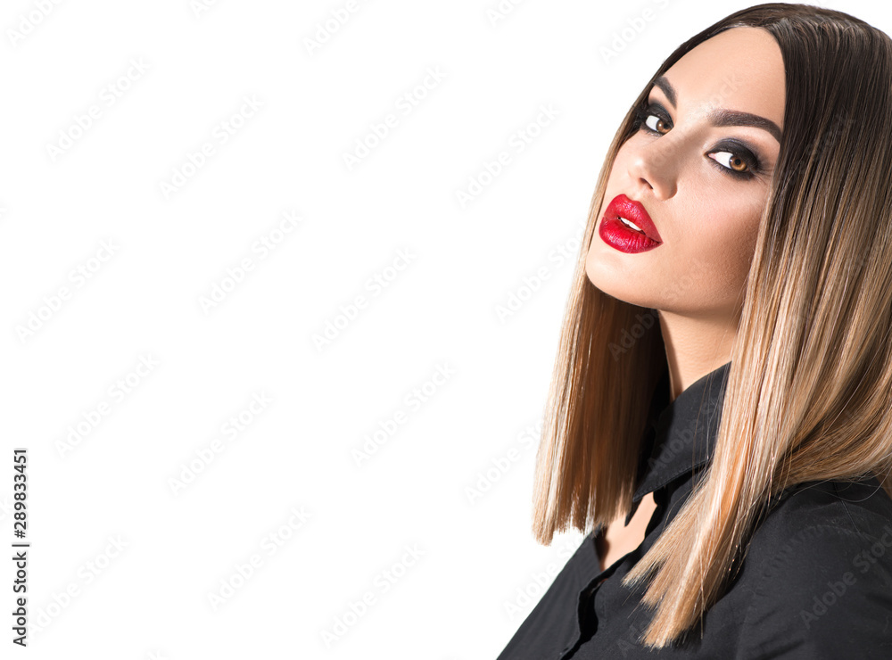 Fototapety, obrazy: Trendy fashion hairstyle, haircut, ombre dyed hair. Beauty Model girl with perfect healthy hair and beautiful makeup posing in studio, young woman portrait isolated on white background