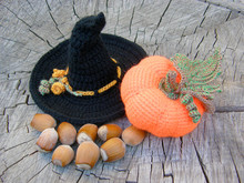 Knitted Orange Pumpkin With Wi...