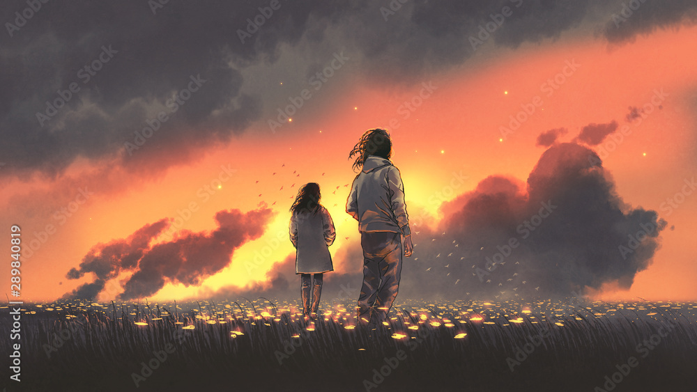 Fototapeta beautiful scenery of the young couple standing in glowing flowers filed and looking sunset sky, digital art style, illustration painting