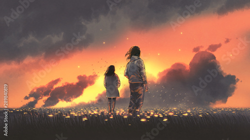beautiful scenery of the young couple standing in glowing flowers filed and looking sunset sky, digital art style, illustration painting