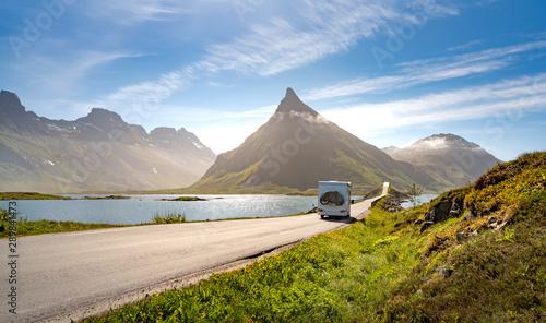 Fototapeta  VR Caravan car travels on the highway.