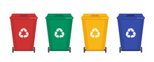 Garbage Cans Vector Flat Illus...