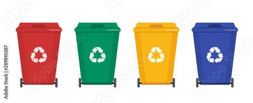Garbage cans vector flat illustrations Fototapeta