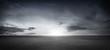 Leinwanddruck Bild - Dramatic Black White Floor Background with Panoramic Cloudy Sky