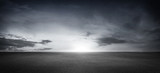 Dramatic Black White Floor Background with Panoramic Cloudy Sky