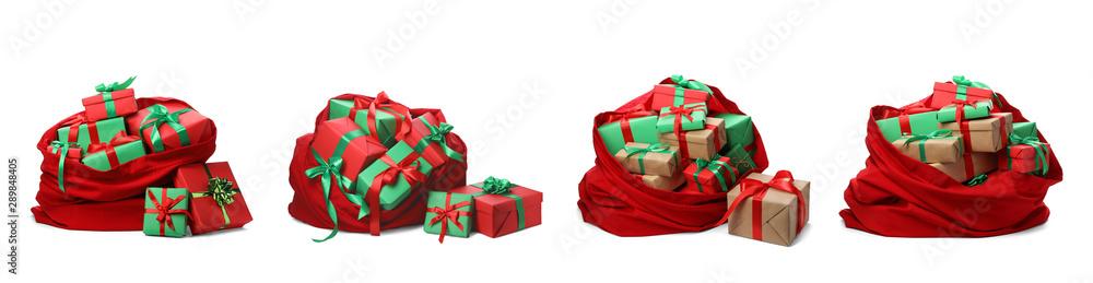 Fototapeta Set of Santa Claus red bags on white background