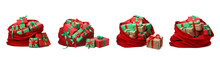 Set Of Santa Claus Red Bags On...