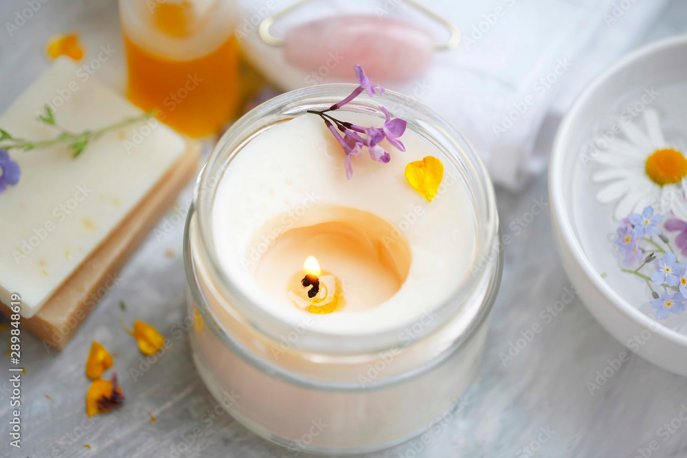 Fototapety, obrazy: scented spa candle setting composition