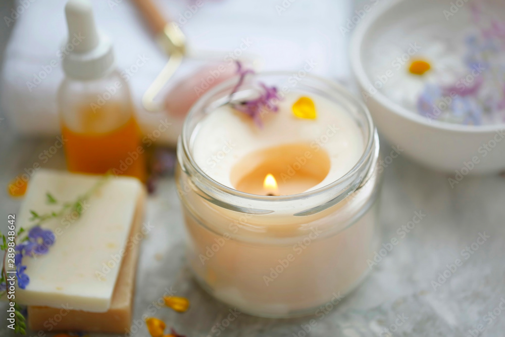 Fototapety, obrazy: scented spa candle setting composition, selective focus