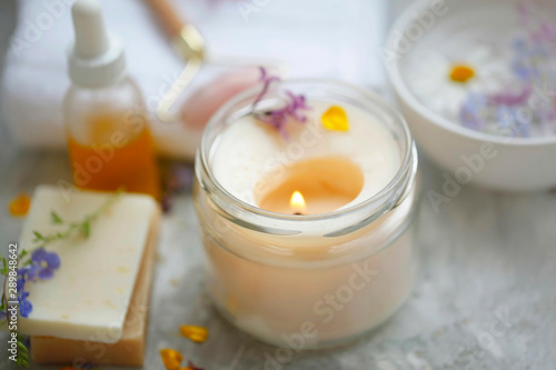 Obraz scented spa candle setting composition, selective focus - fototapety do salonu