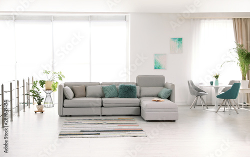 Fotografie, Obraz  Modern living room interior with comfortable sofa
