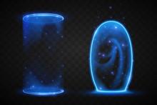 Magic Blue Portals On Transpar...