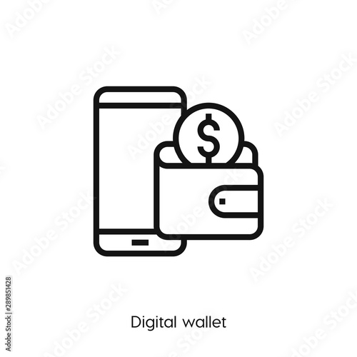 digital wallet icon. digital wallet icon vector. Linear style sign for mobile concept and web design. digital wallet symbol illustration. vector graphics - Vector Wall mural