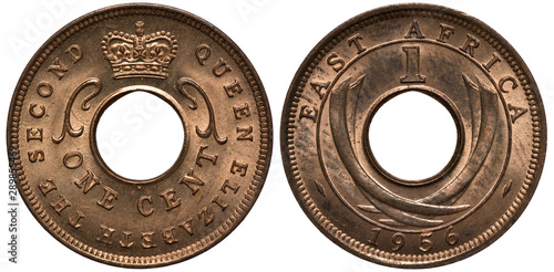 British East Africa coin 1 one cent 1956, ruler Queen Elizabeth II, Queen's titl Canvas Print