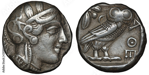 Photo Illyria and Central Greece – Attica silver coin tetradrachm 454-404 BC, helmeted