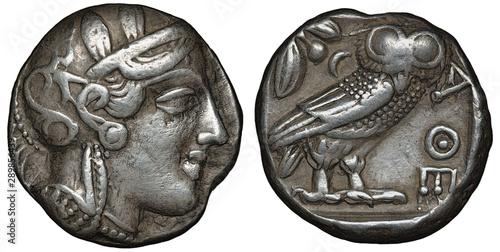 Illyria and Central Greece – Attica silver coin tetradrachm 454-404 BC, helmeted Wallpaper Mural