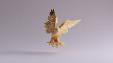 Gold Eagle In Flight Hunting Sculpture Front View 3d Illustration 3d Render