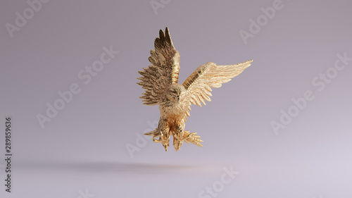 Gold Eagle in Flight Hunting Sculpture Front View 3d illustration 3d render Wallpaper Mural