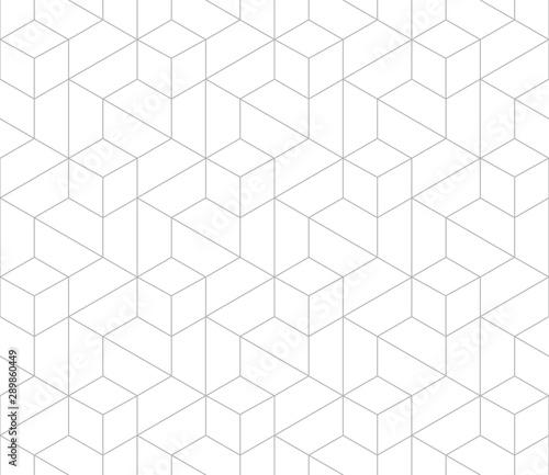 Fototapeten Künstlich Vector seamless cubic hexagon pattern. Modern stylish thin linear texture.