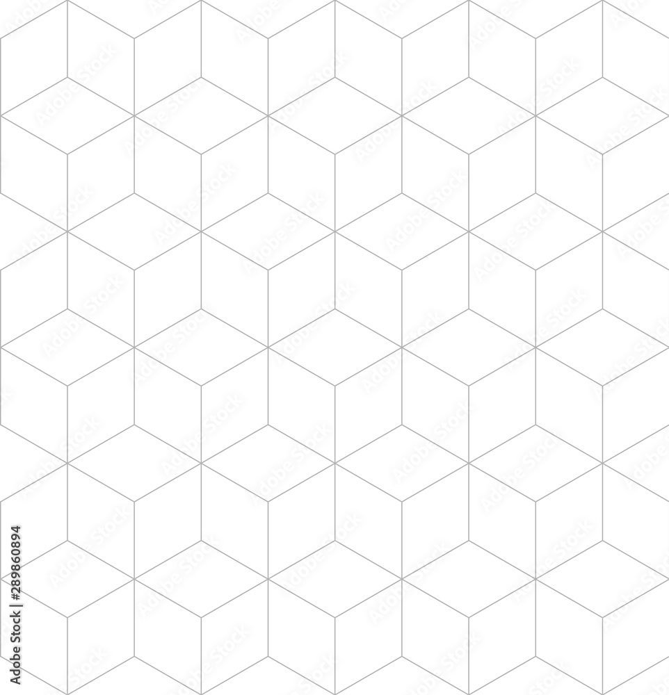 Fototapeta Vector seamless cubic pattern. Modern thin hexagon grid texture.