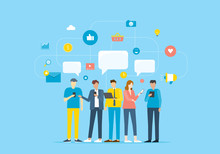 Group People Communicate By Mobile Application And Contact To Business By Social Network Concept