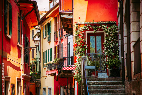 Canvas Prints Mediterranean Europe Colorful italian architecture in Bellagio town, Lombardy region, Italy