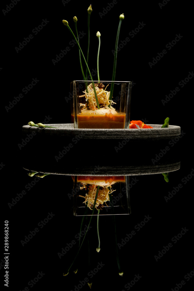 Fototapety, obrazy: Prawn ballotine on lobster bisque. Exquisite dish. Creative restaurant meal concept. Haute couture food on black with reflection. Fine dining concept.