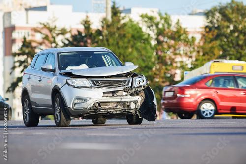 car crash accident on street. damaged automobiles Billede på lærred