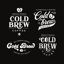 Cold Brew Coffee Labels Badges...