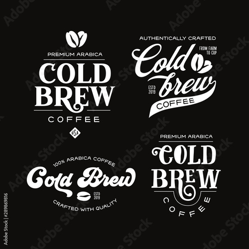 Fotografía Cold brew coffee labels badges emblems set