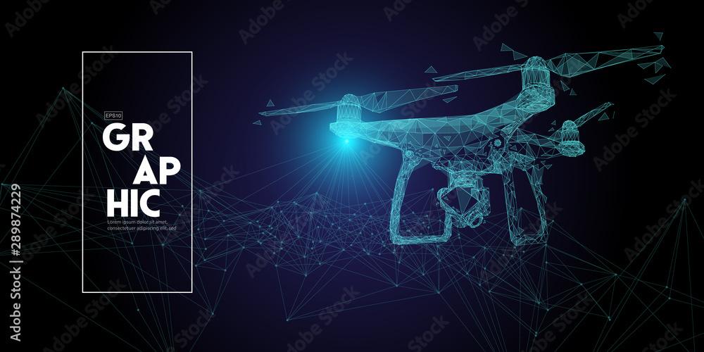Fototapety, obrazy: drone in low polygon on darkbackground