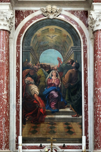 Descent of the Holy Spirit, Catholic Church Saint Eustache in Dobrota, Montenegr Canvas-taulu
