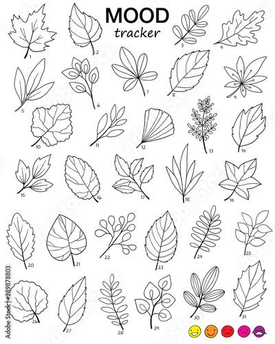 Carta da parati  month mood tracker with hand drawn autumn leaves